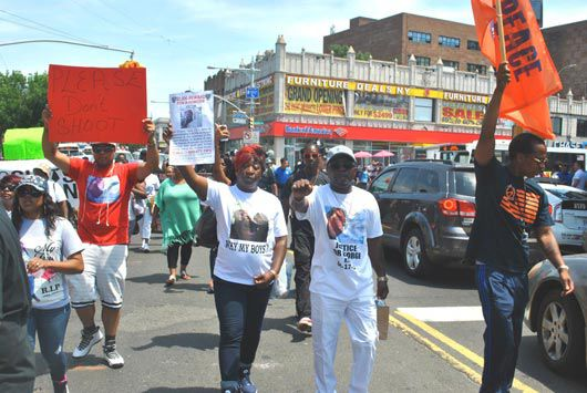 Victims' families on the march in Queens 1