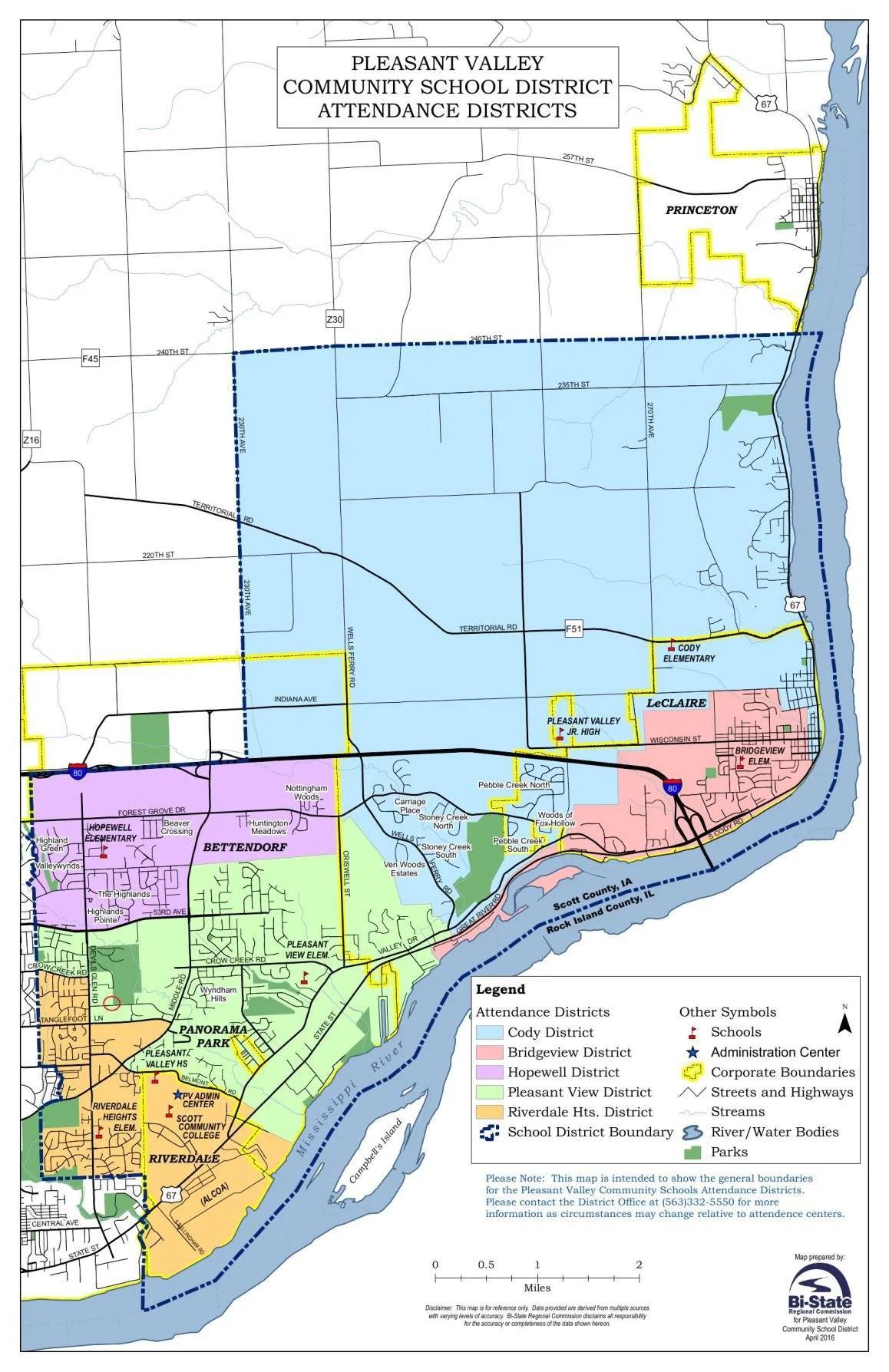 Pleasent Valley Map : pleasent, valley, Pleasant, Valley, School, District, Attendance, Areas, Qctimes.com