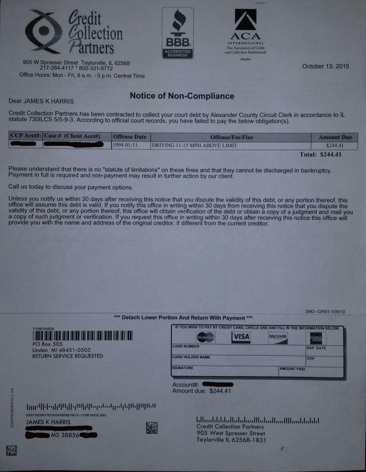 Credit Collection Letter