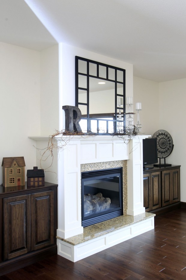 antique white fireplace  Cedar Valley Home  Garden