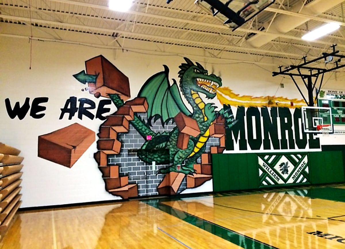 Mural Breathes Fire Drab Gym Walls