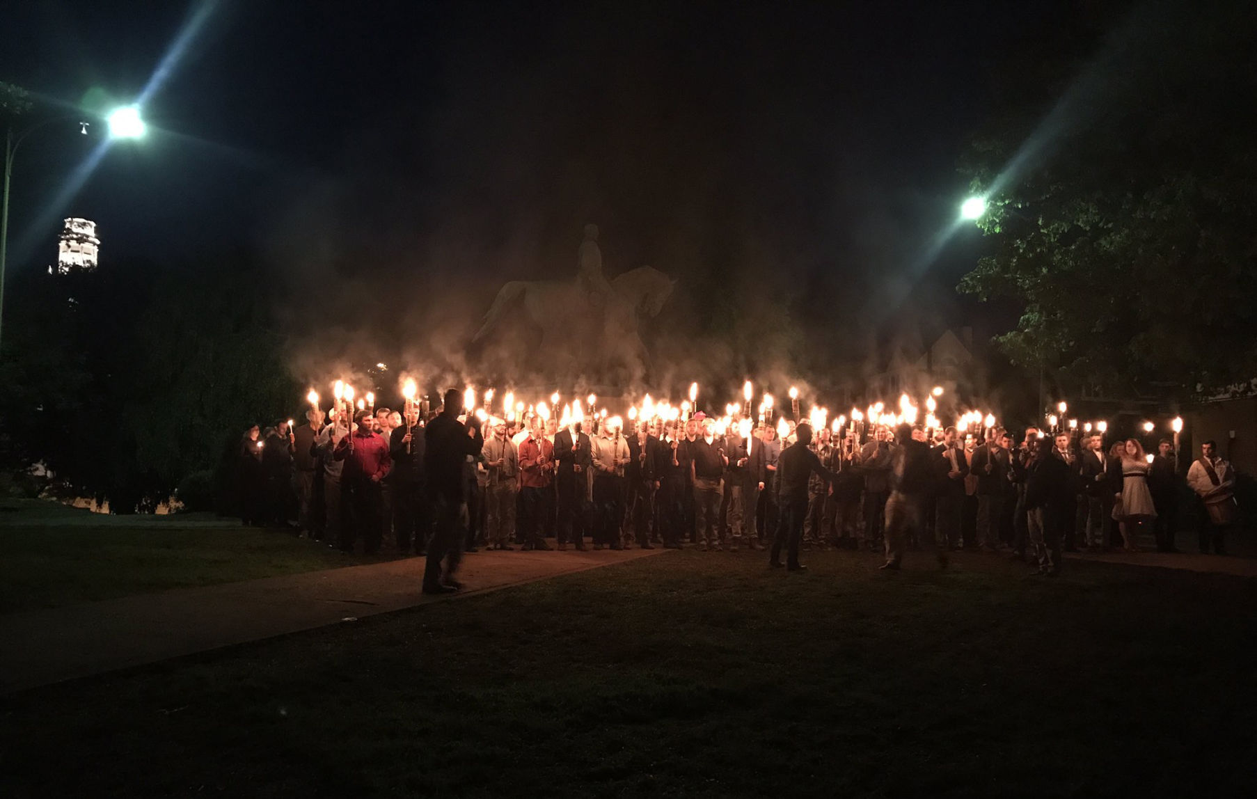 Torch-wielding mob at Lee Park