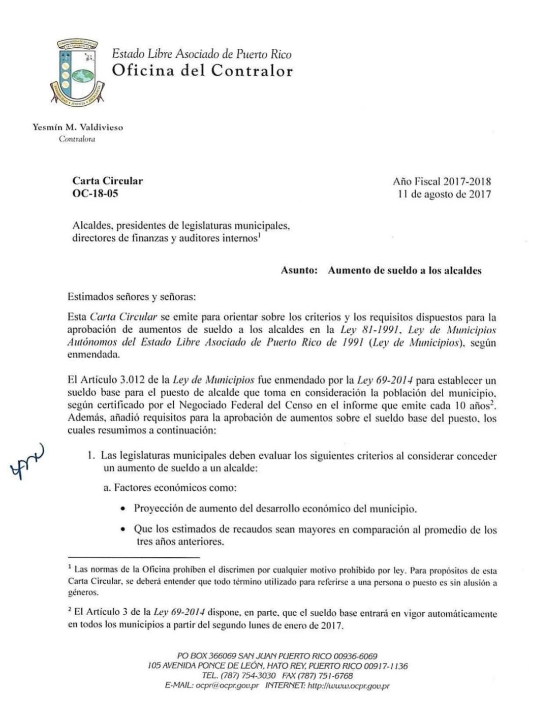 Carta Circular Aumento de sueldo a los alcaldes
