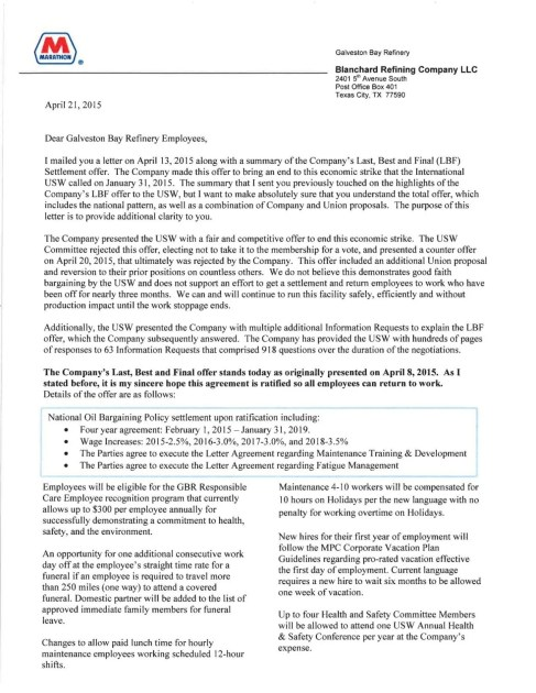 Marathon Manager S Letter To Striking Workers Local News The Daily News
