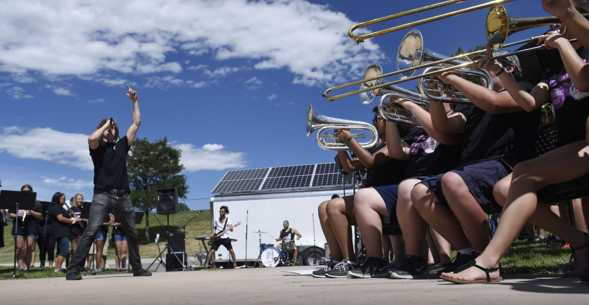 Mesa Ridge marching bands collaboration with LA band nets