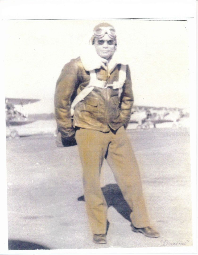 Frank Macon, flight suit, primary training at Tuskeegee