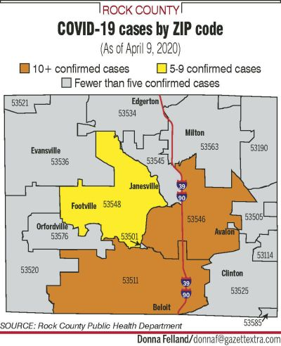 Evansville Zip Code Map : evansville, County, Publishes, Showing, COVID-19, Cases, Coronavirus, Gazettextra.com