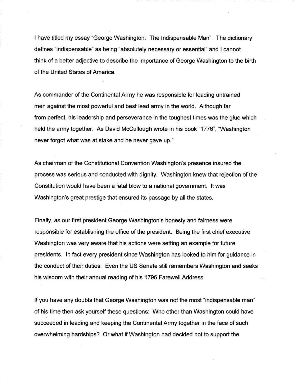 George Washington Essay George Washington Essay Short Essay Speech
