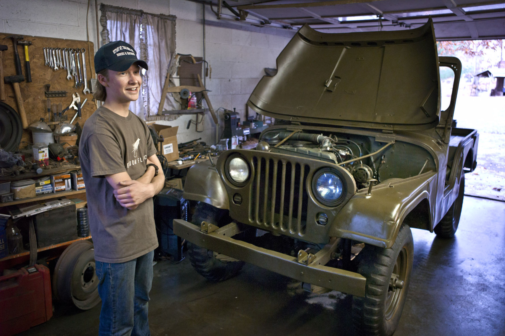 ben zenger 15 has been working on restoring this 1954 willys jeep since he was 11 tearing it down to the frame for a complete rebuild  [ 1200 x 798 Pixel ]