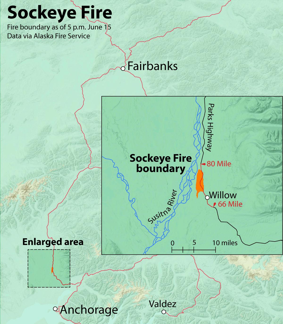Sockeye Fire map