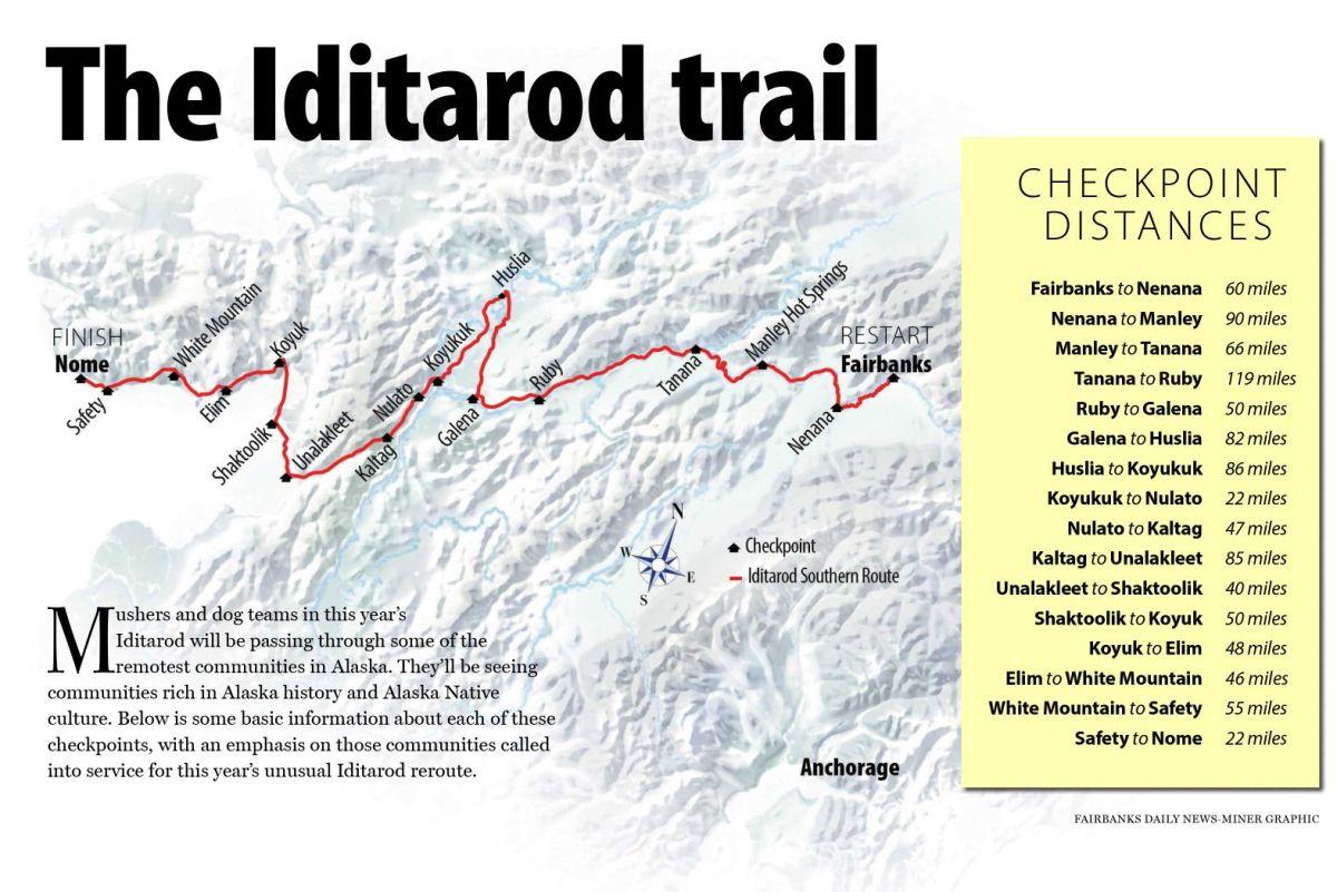 Map Iditarod Race Alaska