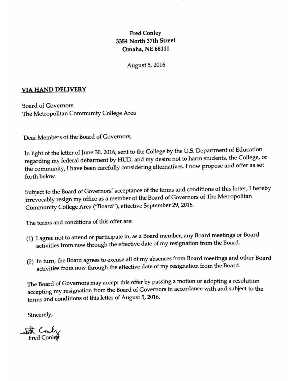 Read Fred Conley's Resignation Letter PDF Omaha Com