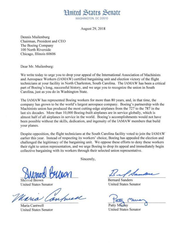 US Senators letter to Boeing   postandcourier.com