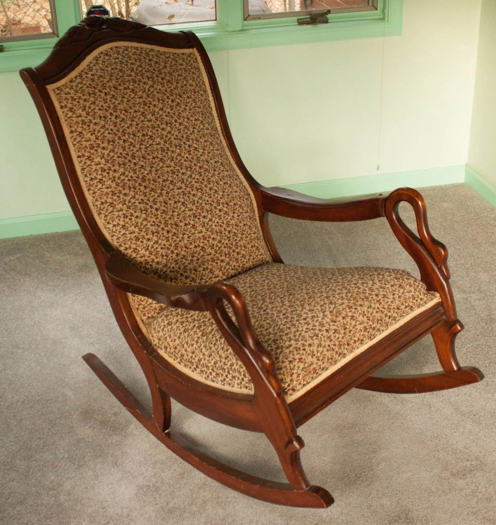 1920s rocking chair swivel gray what s it worth goose neck rocker spinet desk home and gardens
