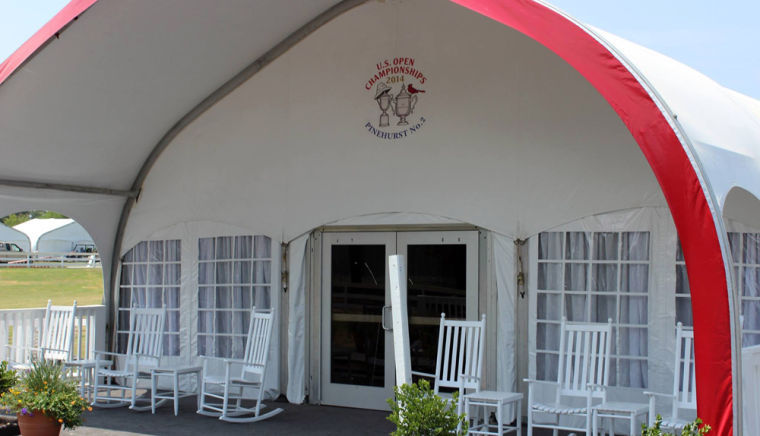 troutman chair company bergere chairs us open helps put on the world stage news rockers sit outside a tent waiting to welcome attendees