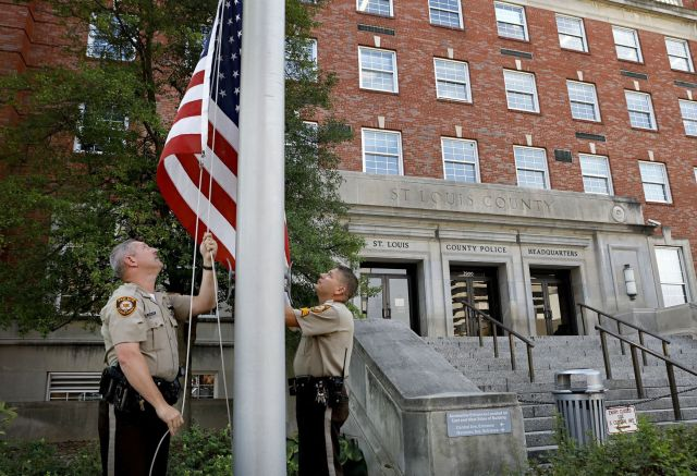 Flags lowered for St. Louis County Police officer Blake Snyder