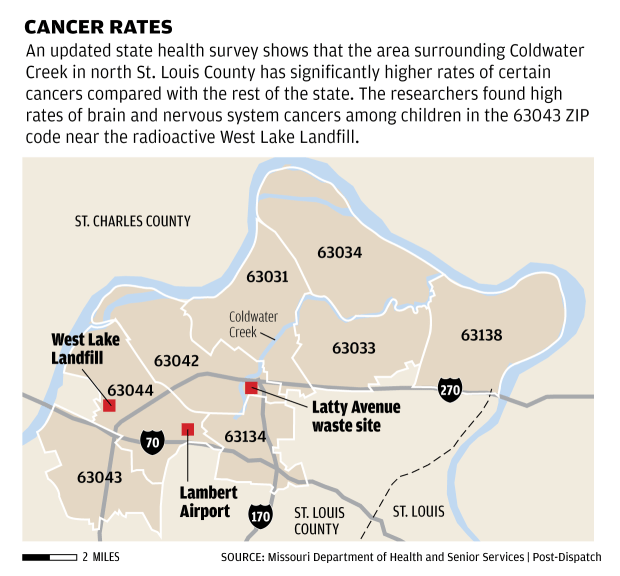 Coldwater Creek Cancer Cluster Map