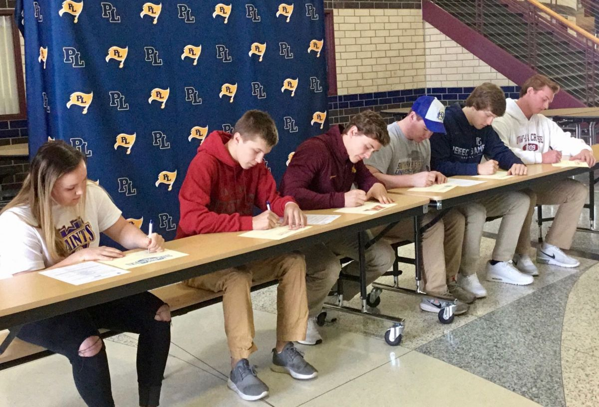 Six Prior Lake Senior Signed Their National Letters Of Intent April 11.  They Are, From Left: Taylor Murray, Corbin Cross, Preston Jelen, Ryan  Mcdonald,
