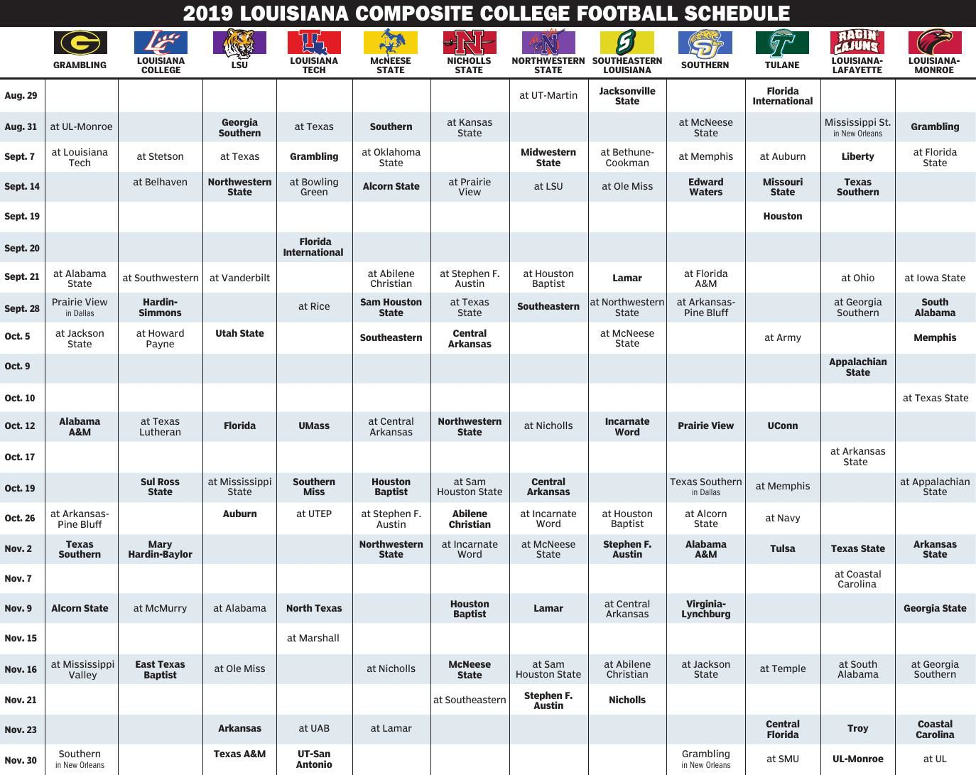 Printable College Football Schedules For Sec Swac Other