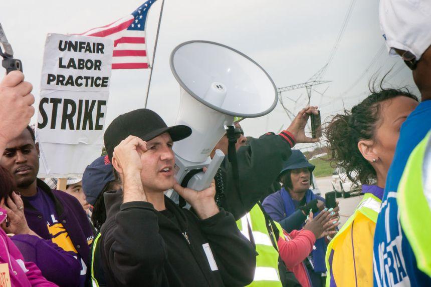 FILE - Labor union, strike, protest