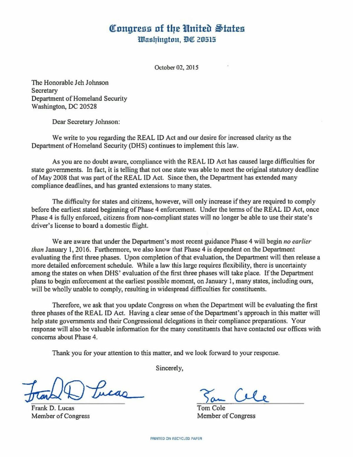 Real ID Act Letter from Oklahoma congressmen to Homeland