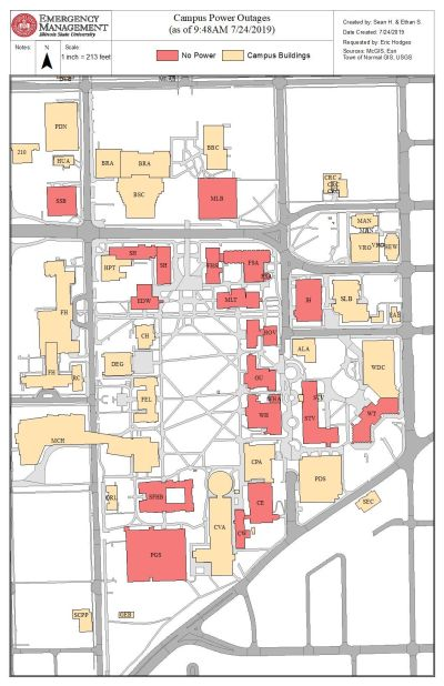 Illinois State University Campus Map : illinois, state, university, campus, Power, Restored, Buildings, Wednesday, Morning;, Intermittent, Outages, Still, Possible, Videtteonline.com