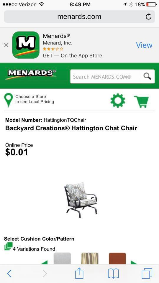 menards patio chairs for one cent donate table and website glitch chair falsely labeled as 0 01 top stories
