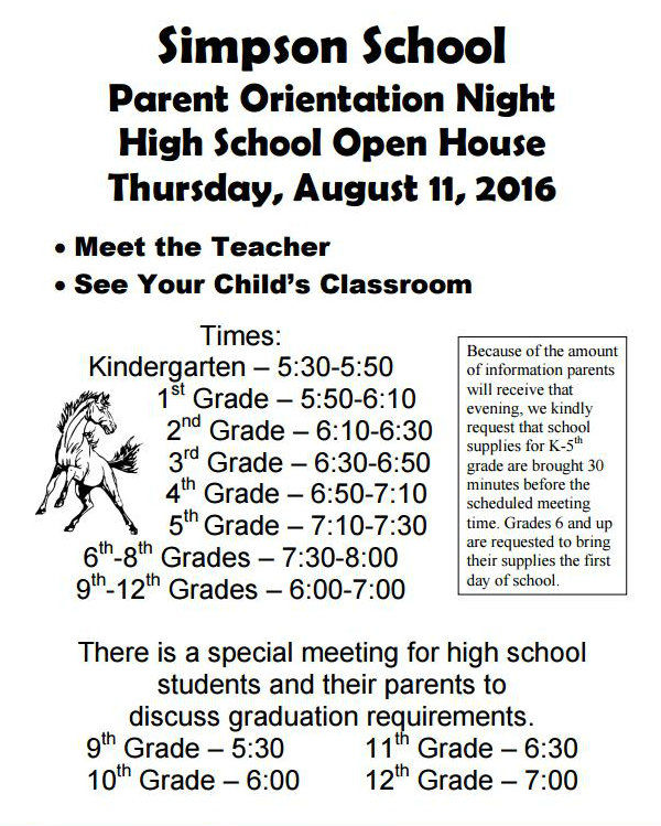 Simpson School sets Thursday 'Parent Orientation Night