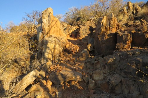 Steep rocky path - a daunting descent especially for sore knees.