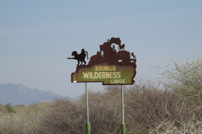 Erongo Wilderness Lodge entry sign.