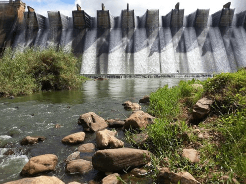Shongweni Dam Wall with powerful overflow.
