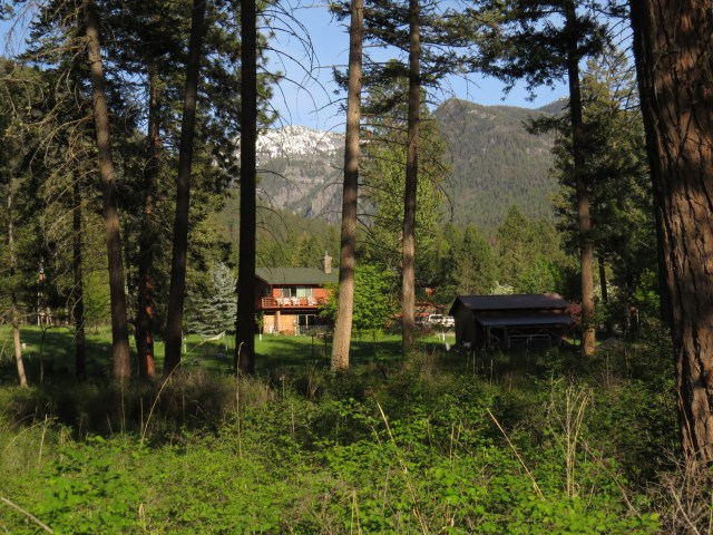 View of Tania and Doug's home with the Mission Mountains behind.