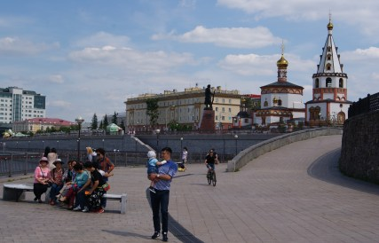 Riverside Irkutsk with the Cathedral of Epiphany.