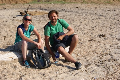 Amy and Christophe taking a rest at the harbour back in Khuzhir.