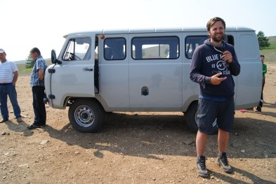 One of those sturdy Russian minivans. This one taking us to Khoboy Cape, the island's northernmost point.