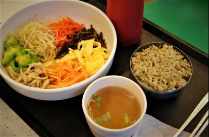 Bibimbap made from local produce and nokcha-infused rice.