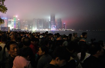Foggy night for fireworks, but it was popular all the same.