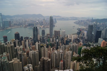 Walking around Victoria Peak on Hong Kong island gives you a view of the city below and Kowloon on the mainland across the water.