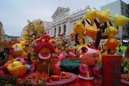 Chinese New Year props in front of Leal Senado.
