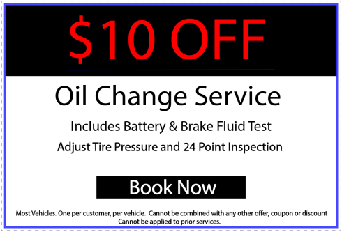 $10 Off Oil Change Service. Includes battery and brake fluid test. Adjust tire pressure and a 24 point inspection.