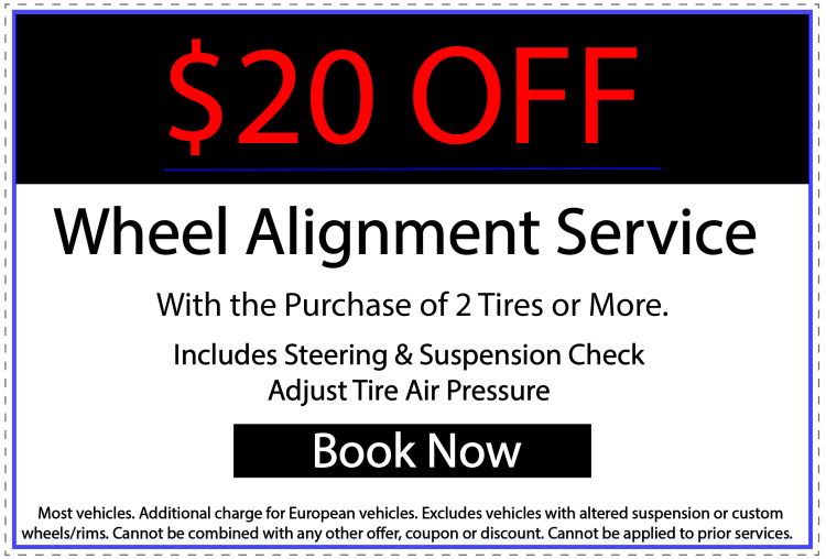 Save $20 on a proffesional wheel alignment service.