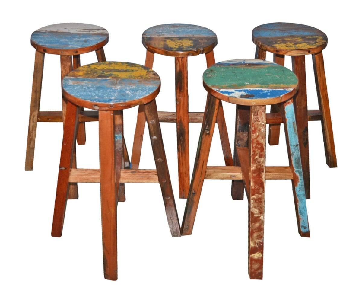Wood Bar Chairs Boat Wood Round Breakfast Bar Stool