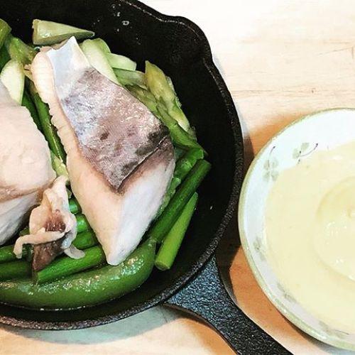 今日はさわらと野菜の蒸し焼きです