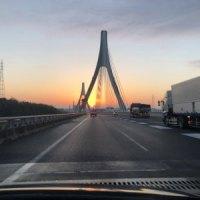 帰り道の夕日