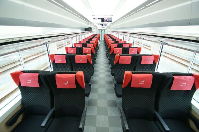 Ordinary class interior of Narita Express