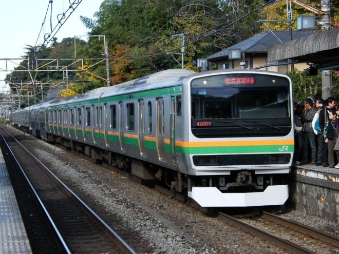 Rapid trains on Shonan-Shinjuku line have green and orange colors.