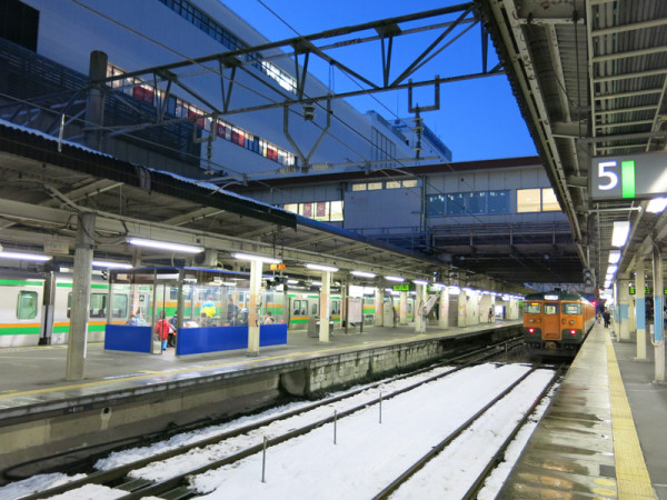 Conventional train platforms of Takasaki station. This photo was taken at track #5.