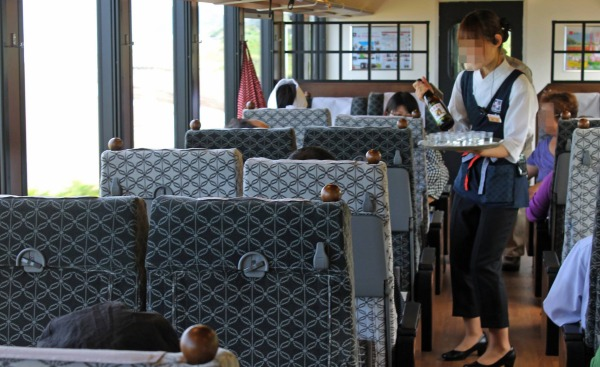 Complementary Japanese Sake is offered on board.