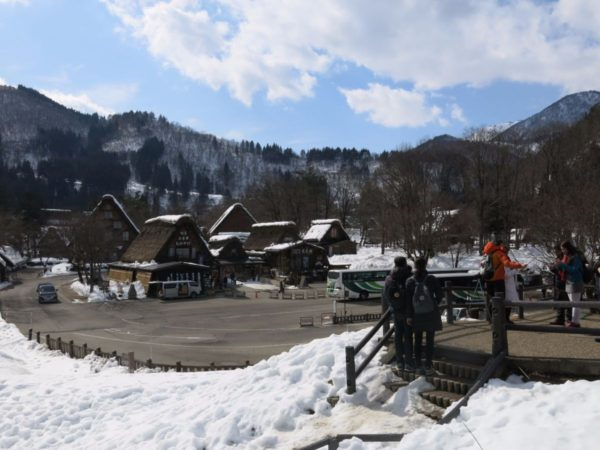 Overview of Shirakawago bus parking