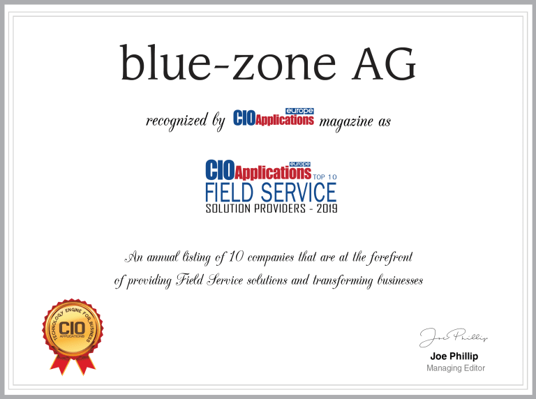 Zertifikat blue-zone AG als TOP 10 Field Service Solution Provider